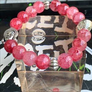 Dragon vein agate Oval Stretchy Buddha bracelet